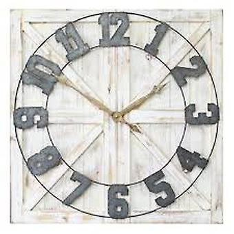 Square Distressed Wood & Metal Wall Clock w/ Vintage Touch