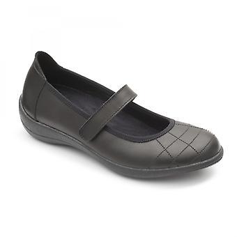 Padders Robyn Ladies Cuir régulier (d/e) Mary Jane Chaussures Noir