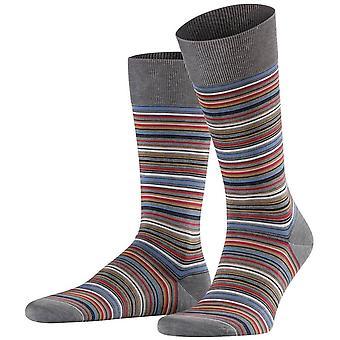Falke Microblock raidallinen sukat-terästä Melange harmaa