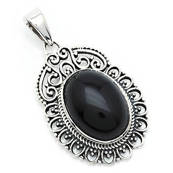Pendentif à chaîne Amulette Argent 925 Argent argent sterling Onyx pierre noire (No : MAH 144-03)