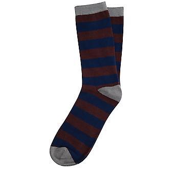 Dobell Mens Burgundy/Royal Blue Striped Socks