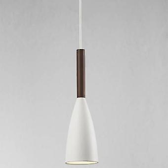 1 Light Slim Dome Ceiling Pendant White, Oiled Walnut 10cm