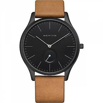 Uhr Bering 16641-522 - Helles schwarzes Stahlzifferblatt schwarz braun Lederarmband