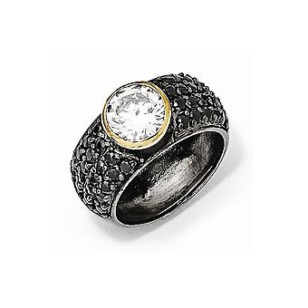 Cheryl M 925 Sterling Silver Gld Flashed Black Rhodium With Black and White CZ Cubic Zirconia Simulated Diamond Ring Jew