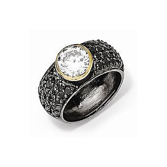 Cheryl M 925 Sterling Silver Gld Flashed Black Rhodium Met zwart en wit CZ Cubic Zirconia Gesimuleerde Diamond Ring Jood