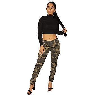 Camouflage Low Rise Slim Cargo Trousers