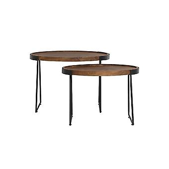 Light & Living Side Table Set Of 2 57x36.5x42 And 66.5x46x48cm Loja Wood
