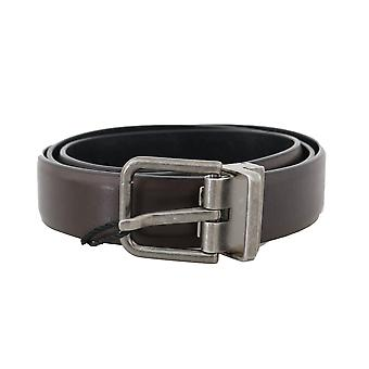 Dolce & Gabbana Brown Leather Gray Buckle Belt