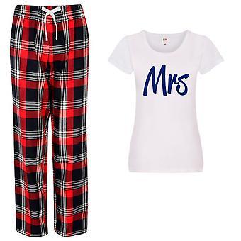 Dámy pani tartan nohavice pyžamo