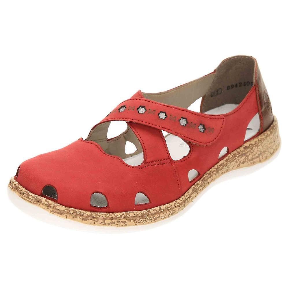 Rieker Mary Jane Skórzane buty Pompy 46356-33 Czerwony TtGlL