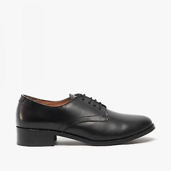 Grafters Ladies Cuir Lace Up Chaussures uniformes Noir