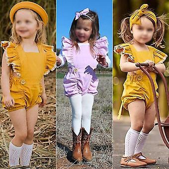 Hwaikun Baby Girl Ruffle Sleeveless Romper Toddler Button Jumpsuit Newborn El...
