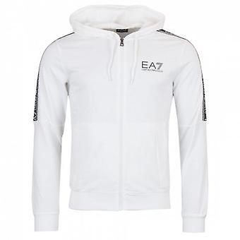 EA7 Emporio Armani White Zip Up Hoody Sweatshirt 3HPM24 PJ05Z