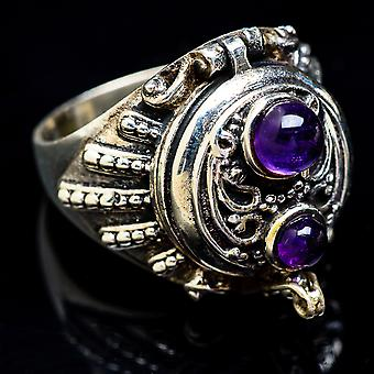 Large Poison Amethyst Ring Size 9.25 (925 Sterling Silver)  - Handmade Boho Vintage Jewelry RING3417