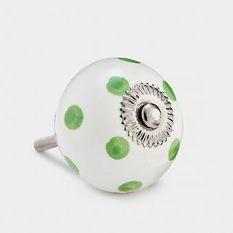 Perilla de puerta de cerámica - blanco / verde - punto
