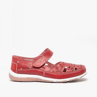 Cotswold Jasmine dames lederen Mary Jane schoenen rood