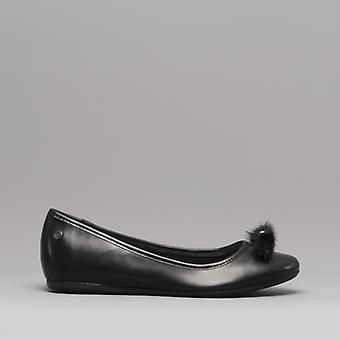 Hush Puppies Heather Puff Ladies Leather Ballerina Shoes Black