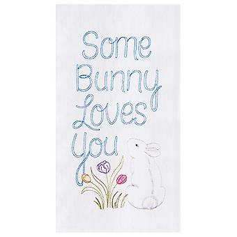 Some Bunny Loves You Spring Flowers Flour Sack Kitchen Towel Cotton 27 Inches