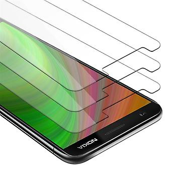 Cadorabo 3x Tank Foil for Nokia 5.1 2018 - Protective Film in KRISTALL KLAR - 3 Pack Tempered Display Protective Glass in 9H Hardness with 3D Touch Compatibility