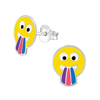 Tongue Face Emoji - 925 Sterling Silver Colourful Ear Studs - W36968x