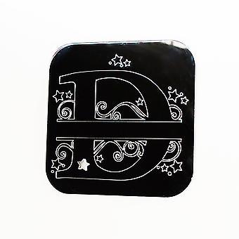 Swirls and Stars Alphabet Square Acrylic Mirror Letter D
