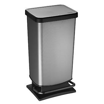 ROTHO Treteimer PASO 40 Liter eckig Carbon metallic | Mülleimer für die einfache Müllentsorgung