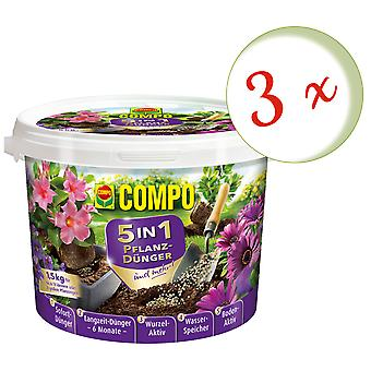 Sparset: 3 x COMPO 5in1 plant fertilizer and more, 1.5 kg