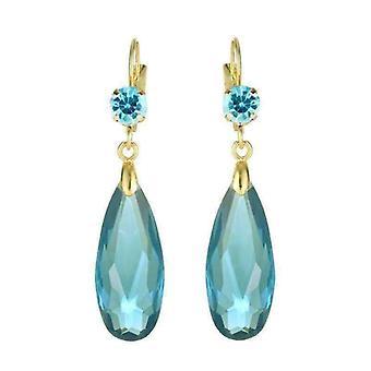 Faszinierende lange Tropfen Perle und cz Ohrringe - sechs Farben zu wählen!