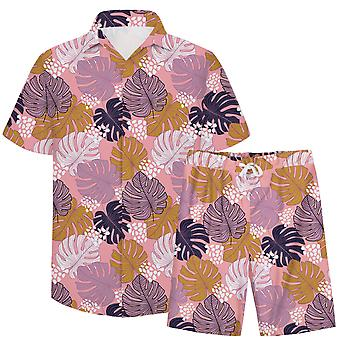 Allthemen Men & apos 3D lämnar mönster 2-st Casual Shirt & Shorts