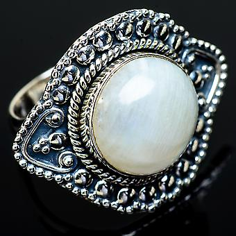 Large Rainbow Moonstone Ring Size 9.25 (925 Sterling Silver)  - Handmade Boho Vintage Jewelry RING12073