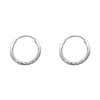 14k White Gold 1.5mm Budded Sparkle Cut Endless Hoop Earrings 14mm Jewelry Gifts for Women