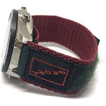 Velcro watch strap green  burgundy 20mm nylon sports