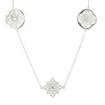 Long Silver White Celtic Knot Clover Flower Disc CZ Bridal Jewellery Necklace
