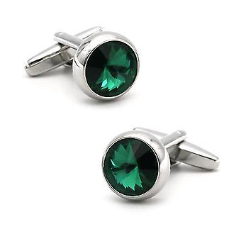 Elegant Silver Emerald Green Cufflinks Present Shard Flash Smart Shirt Fashion