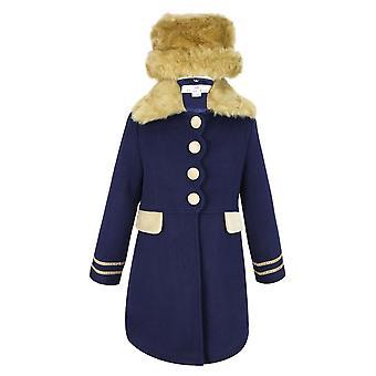 Casaco azul marinho desenhador meninas e conjunto de chapéu