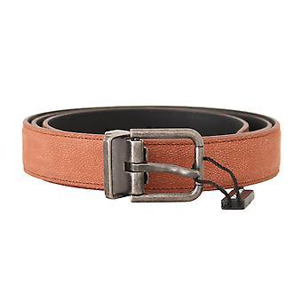 Dolce & Gabbana Orange Leather Logo Brushed Buckle Belt