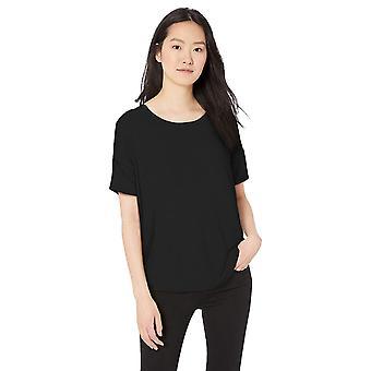 Daily Ritual Women's Jersey Rib Trim Drop-Shoulder Short-Sleeve Scoop Top, Black, Small