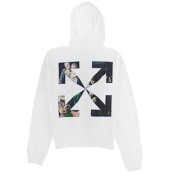 OFF-WHITE Off White Caravage Printed Hooded Sweatshirt White/black