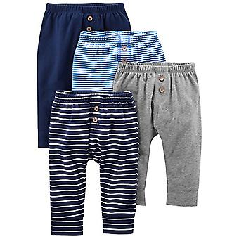 Simple Joys by Carter's Baby Boys' 4-Pack Pant, Navy/Stripes/Gray, 24 Months