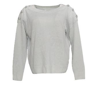 Joie Women's Top Long Sleeve Button Linen Detail Gray