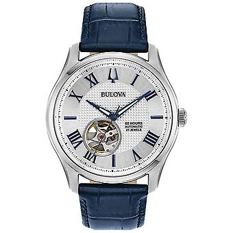 Bulova Watches 96a206 Wilton Silver & Navy Blue Leather Automatic Men's Watch