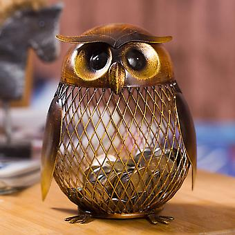 Owl Metal Piggy Coin Bank - Home Decoration Figurer Craft julklapp för barn