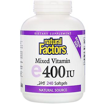 Natural Factors, Mixed Vitamin E, 400 IU, 240 Softgels