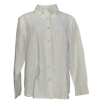 NorthStyle Women's Top Buttoned Down Long Sleeve Shirt White