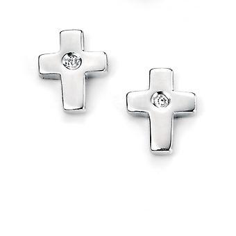 D for Diamond Silver Cross Earrings