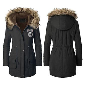 Womens Faux Fur Collar ZIMY Logo Trim Hood Long Winter Parka Coat