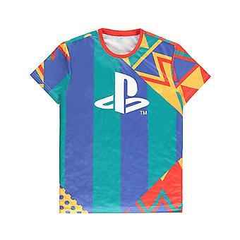 Playstation T Shirt All Over print retro logo uusi Official Mens