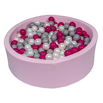 Różowy pit kulowy 90 cm z 450 kulkami z perły, fioletu i szarości