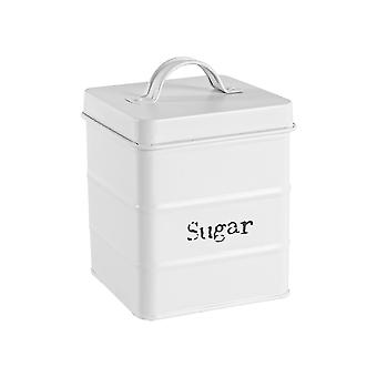 Vintage Sugar Storage Canister - Metal Square Jar Hermético Sello - Blanco Mate