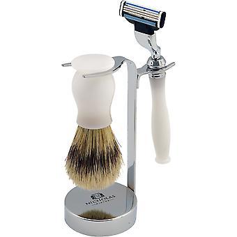 Nicholas Winter 3 Piece White / Silver Traditional Shaving Set. Brush, Razor & Stand. Mach 3 Compatible